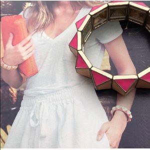 J. Crew Pink Pyramid Stretch Bracelet
